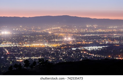 Silicon Valley Lights. Looking West from Mount Hamilton at Santa Clara Valley and Santa Cruz Mountains. San Jose, Santa Clara County, California, USA.