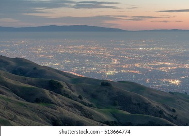 Silicon Valley and Rolling Hills at Dusk. Mission Peak Regional Preserve, Alameda County, California, USA.