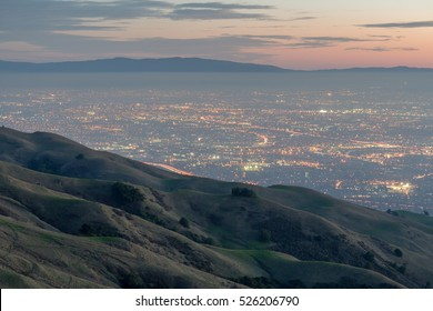 Silicon Valley and Rolling Hills at Dusk. Mission Peak Regional Preserve, Fremont, California, USA.