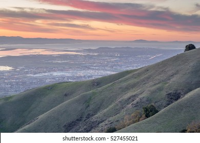Silicon Valley and Rolling Hills at twilight. Alameda County, California, USA.