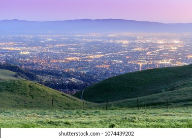 Silicon Valley Twilight. Sierra Vista Open Space Preserve, San Jose, Santa Clara County, California, USA.