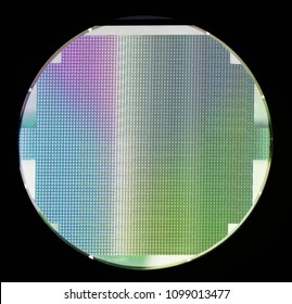 Silicon wafer with chips isolated on black background
