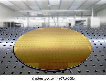Silicon wafer isolated with movable shadow and clipping path.   on aluminum table blurred background