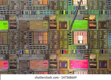 silicon wafer with printed electronic circuit