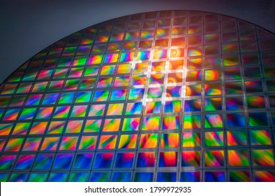 silicon wafer reflecting different colors.