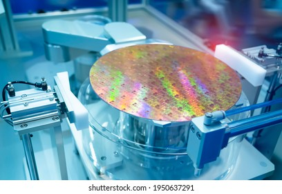 Silicon Wafers and Microcircuits with Automation system control application on automate robot arm
