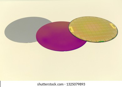 Silicon Wafers three types -empty grey wafer,purple wafer with SiO film and gold wafes with microchips