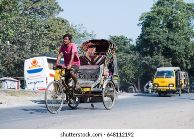 SILIGURI, INDIA   DECEMBER 5, 2016: cycle rickshaw is one form of transportation widely available in Siliguri.