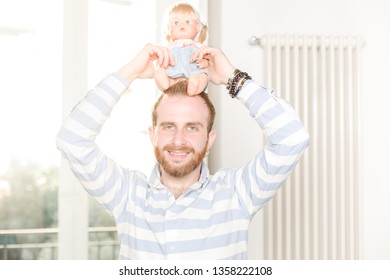 Siling Man Holding a Doll on His Head