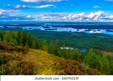 Siljan lake in Sweden seen from a nearby hill