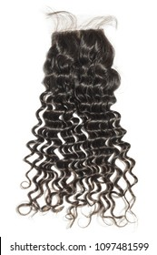 Silk base deep wave curly black human hair weaves extensions lace closure