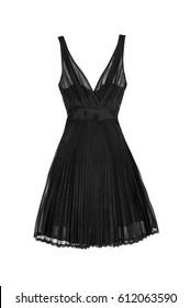 Silk black dress isolated on white background