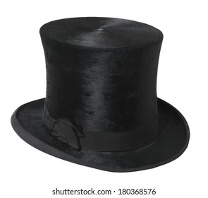 silk black top hat with side bow on white background