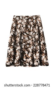 Silk brown skirt with floral ornament isolated over white
