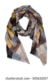 Silk brown and yellow scarf, isolate on a white background