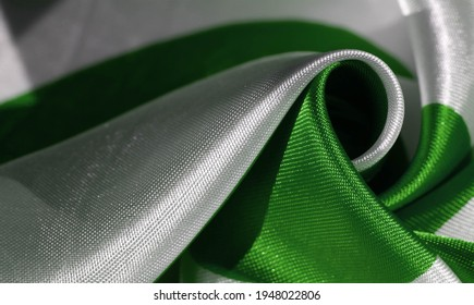 Silk fabric, green and white ovals, abstract illustration. texture background, pattern, postcard