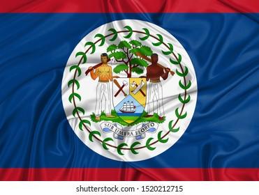 Silk Flag of Belize. Belize Flag of Silk Fabric.