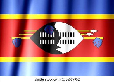 Silk Flag of Eswatini. Eswatini Flag of Silk Fabric.