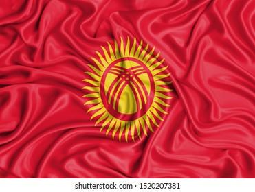Silk Flag of Kyrgyzstan. Kyrgyzstan Flag of Silk Fabric.