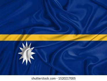 Silk Flag of Nauru. Nauru Flag of Silk Fabric.