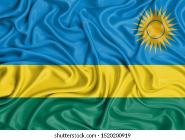 Silk Flag of Rwanda. Rwanda Flag of Silk Fabric.