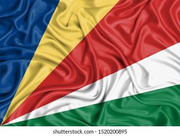 Silk Flag of Seychelles. Seychelles Flag of Silk Fabric.