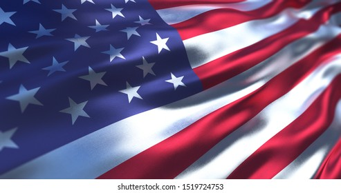 Silk flag of United States of America. Old Glory in the wind, colorful background