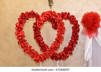 Silk hearts  decoration , at the wedding