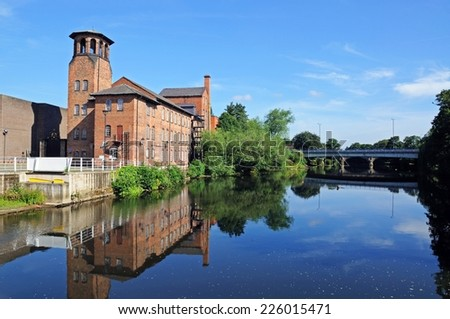 The Silk Mill alongside the River Derwent, Derby, Derbyshire, England, UK, Western Europe.