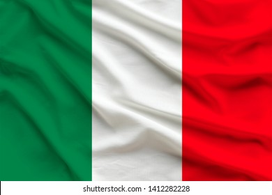 silk national flag of Italy with folds