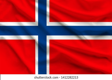 silk national flag of Norway with the folds