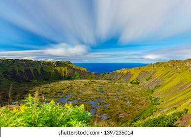 Silk Pacific ocean and Rano Kau volcano crater ultra long exposure in Rapa Nui - Shutterstock ID 1397235014