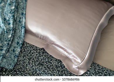 silk pillow on the bed