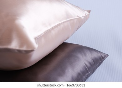 silk pillows in white and gray