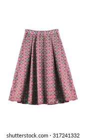 Silk pink ornamental midi skirt isolated over white