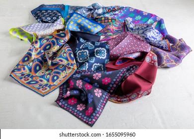 Silk pocket handkerchief ; Colorful Men's silk pocket squares.