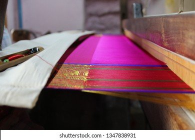 silk sarees Weaving Process Weaving loom of Raw silk thread