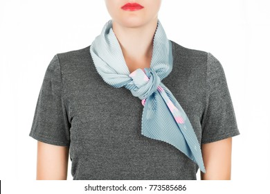 Silk scarf. Blue silk scarf around her neck isolated on white background. Female accessory.