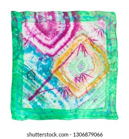 silk scarf handpainted in batik technique with picture of bamboo in Sumi-E (Suibokuga) style and hieroglyph Spring in abstract nodular colored ornament isolated on white background
