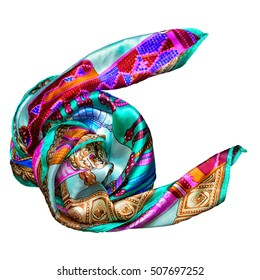 Silk scarf isolated on white background