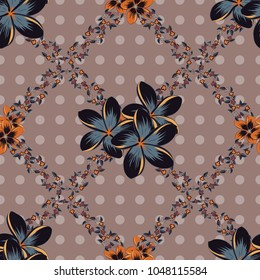 Silk scarf with plumeria flowers in pink and gray colors. 1950s-1960s motifs. Retro textile design collection. Abstract seamless pattern with hand drawn floral elements. Autumn colors.