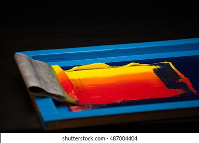 silk screen printing made color grading by hand followed by step of colour toning. start from yellow to orange and red.