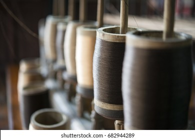 Silk thread at textile factory