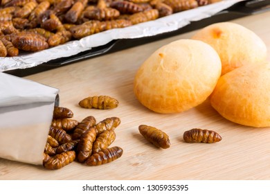 Silkworm Pupae insects for eating as food.  Chrysalis silkworm with baked bread made of cooked insect meat with baking tray and in a foil wrap ready to eat, it is good source of protein edible.