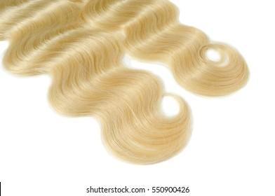 Silky body wave blonde human hair extensions bundles