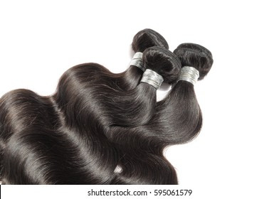 Silky body wavy black virgin remy human hair extension bundles