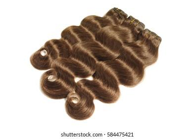 Silky brown body wave human hair extensions bundles