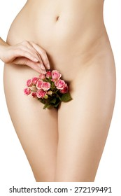 silky female skin with pink roses