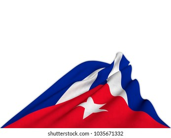 Silky flag of Cuba waving from below with elegant movements. 3D rendering