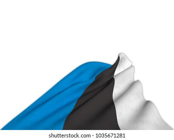 Silky flag of Estonia waving from below with elegant movements. 3D rendering